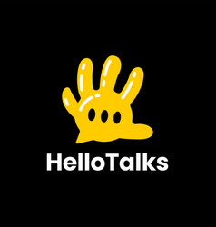 hello talk hand hi chat balloon high five logo vector image
