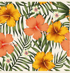 Hibiscus pink yellow palm leaves green seamless vector