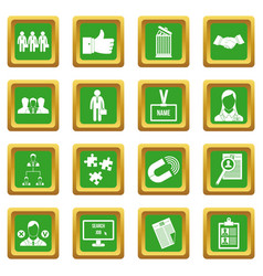 Human resource management icons set green vector
