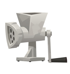 Iron meat grinder in cartoon style on white vector