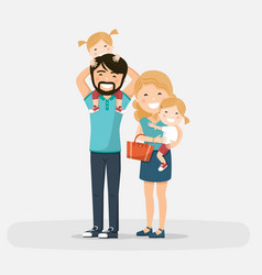 Isolated happy family with little twins on a vector