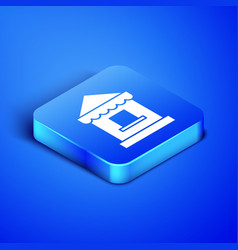 Isometric ticket box office icon isolated on blue vector