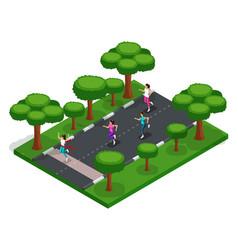 isometry girls run cross outdoors in park vector image