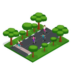 isometry of girls run cross outdoors in the park vector image