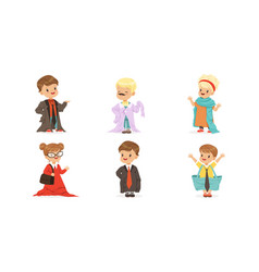 Kids playing adult wearing parents clothing items vector