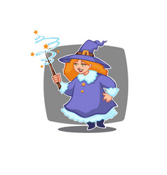 little witch portrait young attractive witch vector image