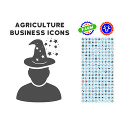 Magic person icon with agriculture set vector