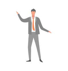 Man in suit and red tie isolated cartoon character vector