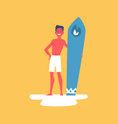man or boy in shorts with surfboard flat cartoon vector image