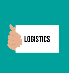 man showing paper logistics text vector image