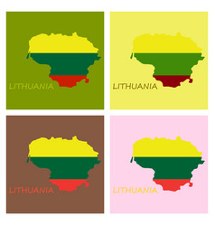 Map of lithuania with flag as texture isolated vector
