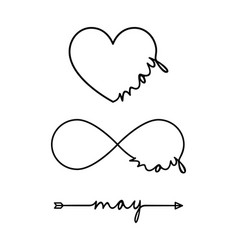 may - word with infinity symbol hand drawn heart vector image