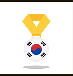 medal with the korea flag isolated on white vector image