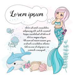 Mermaid dream school autumn sea underwater vector