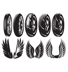 monochrome set motorcycle wheels and wings vector image