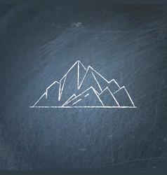 Mountain peaks icon on chalkboard vector