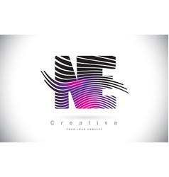 Ne n e zebra texture letter logo design with vector