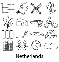 Netherlands country theme outline symbols icons vector image