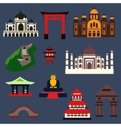 Old famous travel landmarks and buildings vector