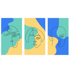 one continuous line collection with people faces vector image
