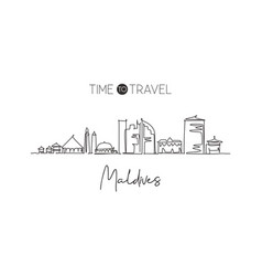one single line drawing male city skyline vector image