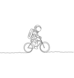 One single line drawing spaceman astronaut vector