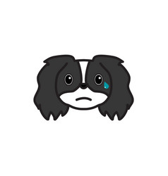 Pekingese emoji cry multicolored icon signs and vector