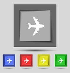 Plane icon sign on original five colored buttons vector