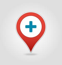 Plus hospital pharmacy clinic pin map icon vector