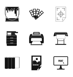 Printer icons set simple style vector