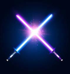 Purple violet and blue crossed light neon swords vector