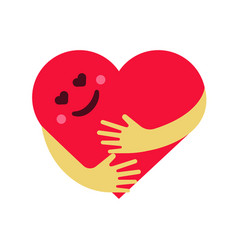 Red smiling heart hug on vector