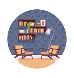 Retro interior with bookshelves chairs lamp vector image