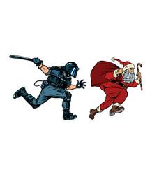 Santa claus christmas riot police with a baton vector