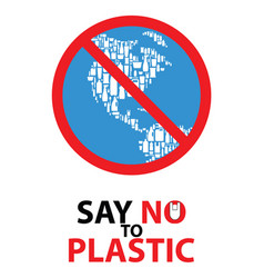 say no to plastic poster design vector image