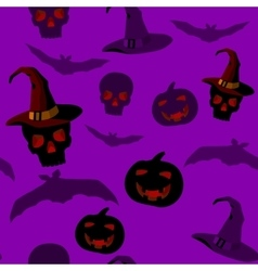seamless pattern with halloween paraphernalia vector image
