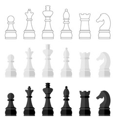 set icons chess pieces vector image