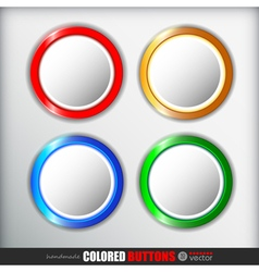 Set of 4 round buttons NormalUp Over PressedActive vector image