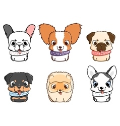 Set of cartoon puppies vector