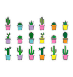 Set of colored icons cactuses and succulent vector