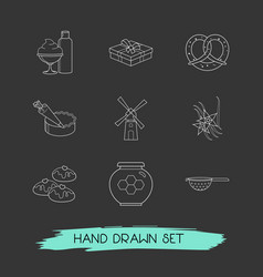 Set of pastry icons line style symbols with cake vector