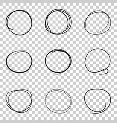 Set of the hand drawn scribble circles line vector