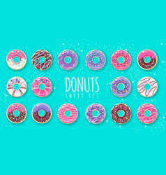Set sweet colorful donuts on blue background vector