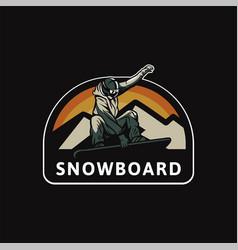 Snowboard logo badge design for t shirt poster vector