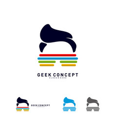 social geek color logo concept colorful geek vector image