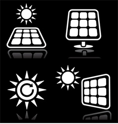 Solar panels solar energy white icons set on blac vector