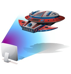 Spaceship flying out of computer screen vector image