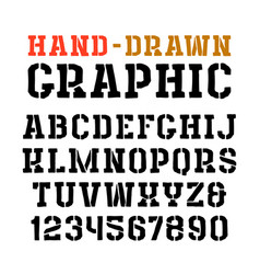 Stencil-plate serif font in style handmade vector