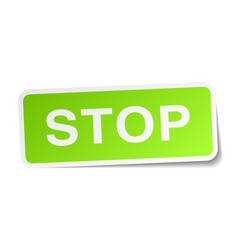 Stop green square sticker on white background vector