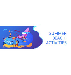 summer beach activities concept banner header vector image
